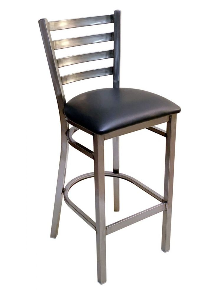 #316BS/ Metal Ladder Back Bar Stool Clear Coat with Black Vinyl Seat
