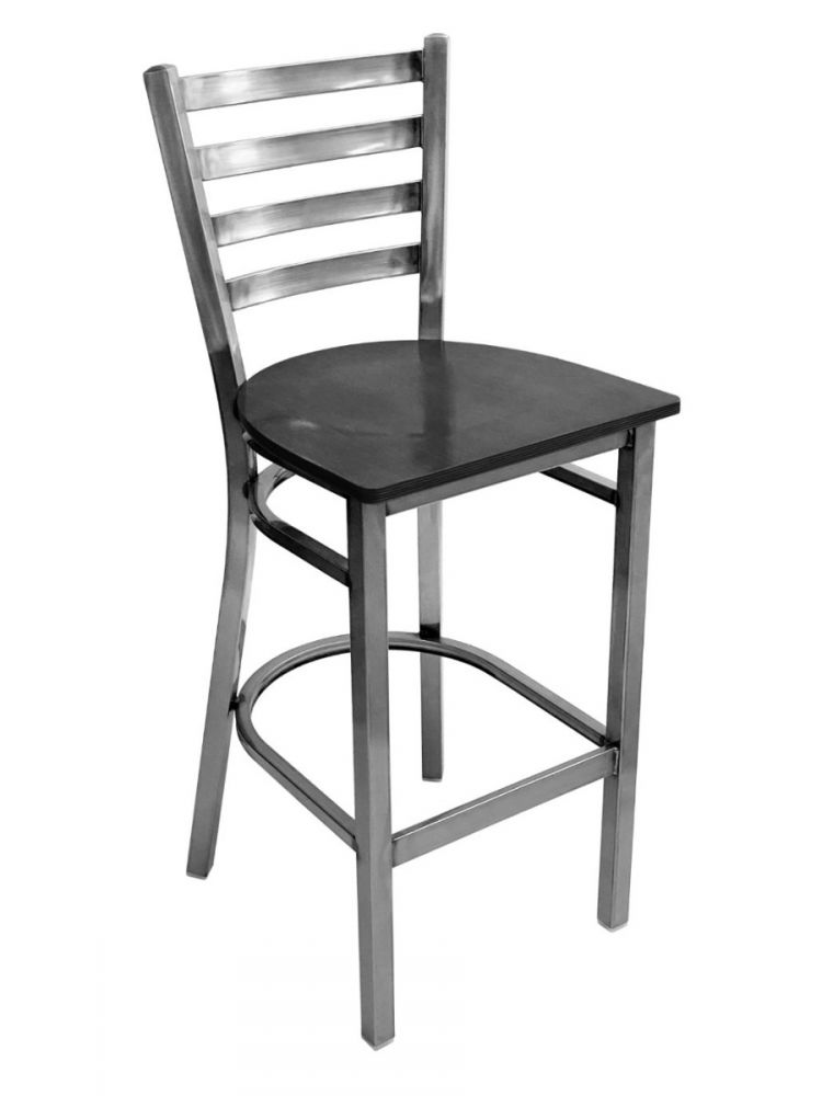#316BS/ Metal Ladder Back Bar Stool Clear Coat with Black Wood Seat