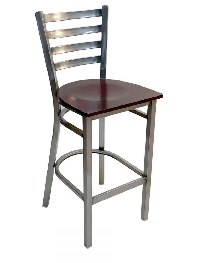 #316BS/ Metal Ladder Back Bar Stool Clear Coat with Brown Wood Seat