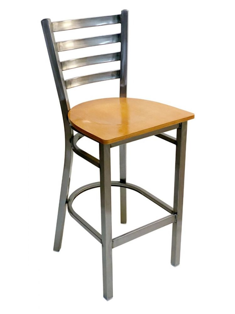 #316BS/ Metal Ladder Back Bar Stool Clear Coat with Natural Wood Seat