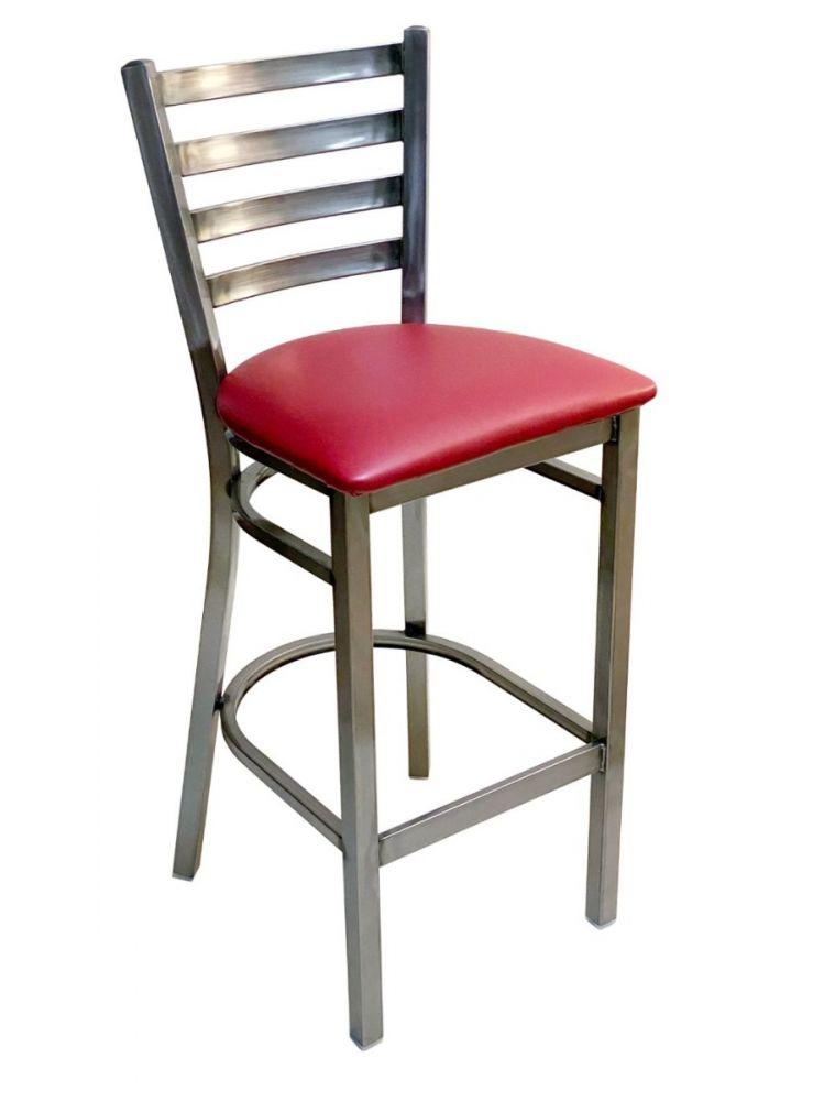 #316BS/ Metal Ladder Back Bar Stool Clear Coat/Claret Vinyl Seat