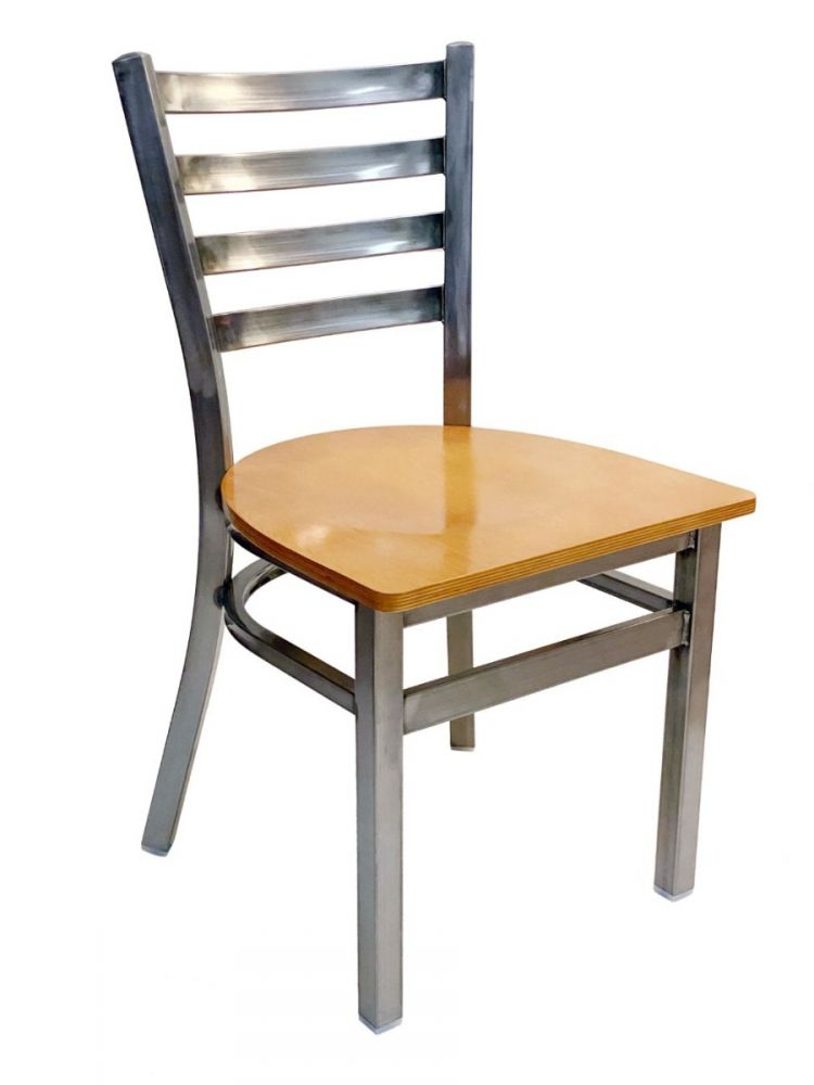#316/ Metal Ladder Back Chair Clear Coat with Natural Wood Seat