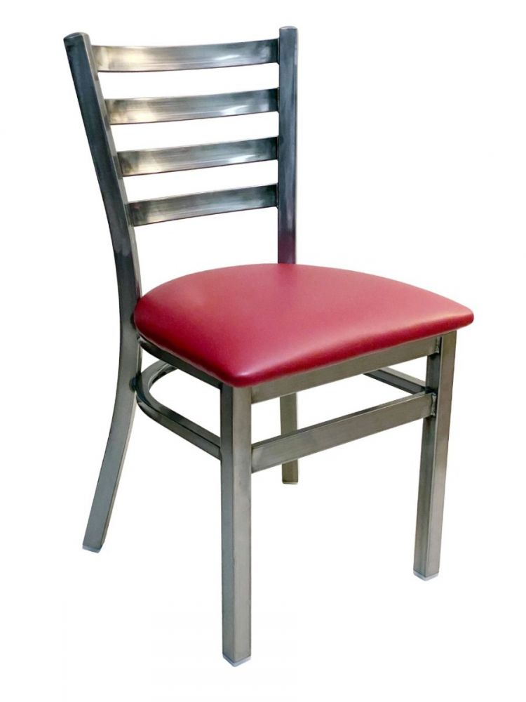 #316/ Metal Ladder Back Chair Clear Coat with Claret Vinyl Seat