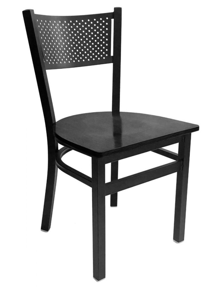 #317/ Grid Back Chair Black with Black Wood Seat