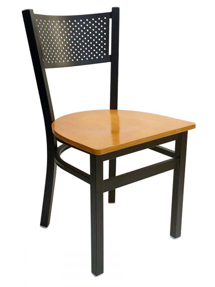 #317/ Grid Back Chair Black with Natural Wood Seat