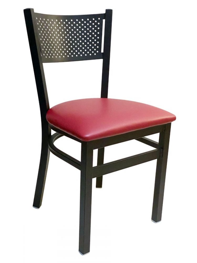 #317/ Grid Back Chair Black with Claret Vinyl Seat