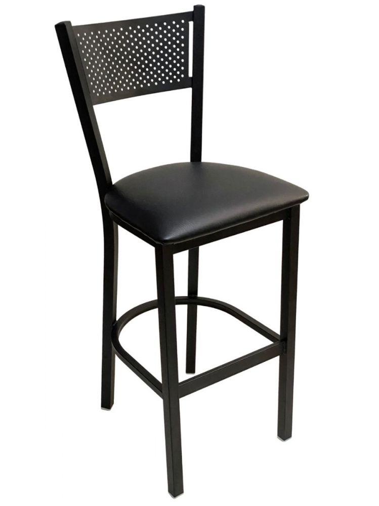 #317BS/ Grid Back Bar Stool Black with Black Vinyl Seat