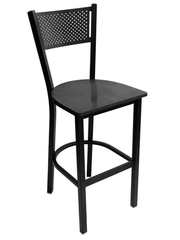 #317BS/ Grid Back Bar Stool Black with Black Wood Seat