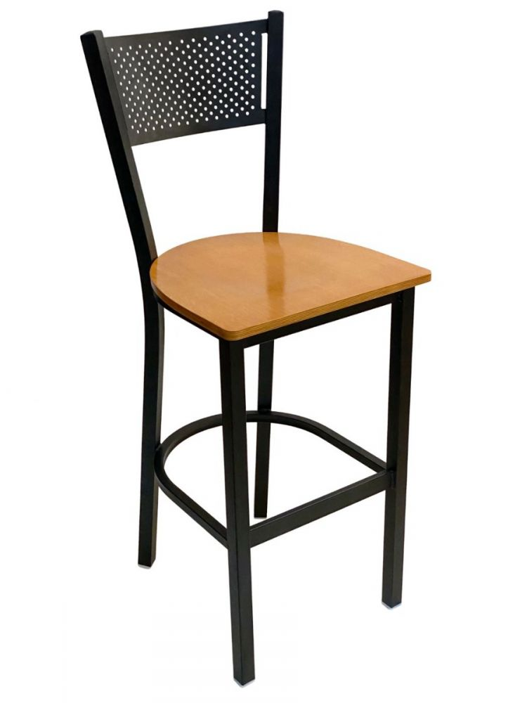 #317BS/ Grid Back Bar Stool Black with Natural Wood Seat
