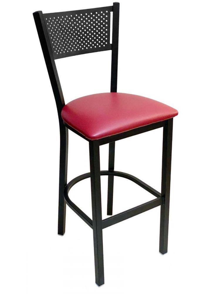 #317BS/ Grid Back Bar Stool Black with Claret Vinyl Seat