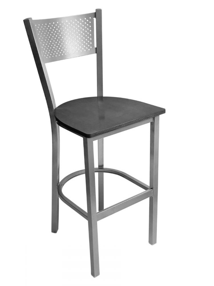 #317BS/ Grid Back Bar Stool Silver with Black Wood Seat