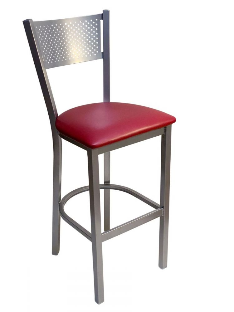#317BS/ Grid Back Bar Stool Silver with Claret Vinyl Seat
