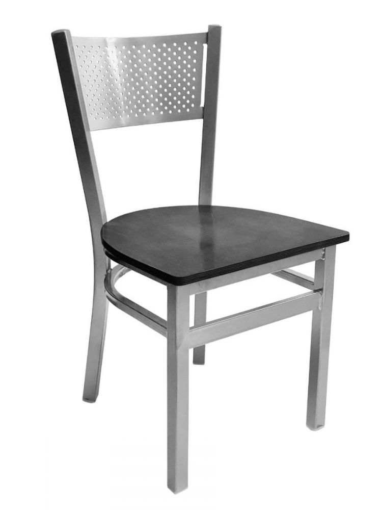 #317/ Grid Back Chair Silver with Black Wood Seat