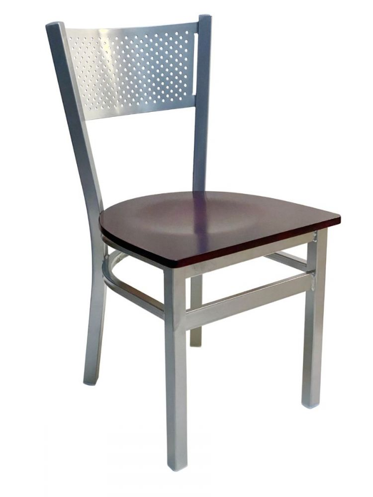 #317/ Grid Back Chair Silver with Brown Wood Seat