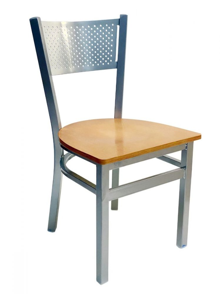 #317/ Grid Back Chair Silver with Natural Wood Seat
