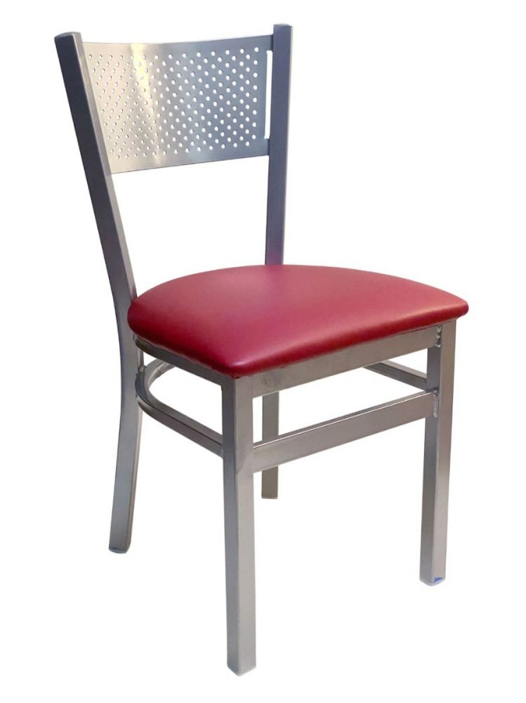 #317/ Grid Back Chair Silver with Claret Vinyl Seat