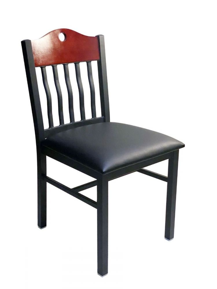 #320/ Brown Wood with Vertical Slats Chair