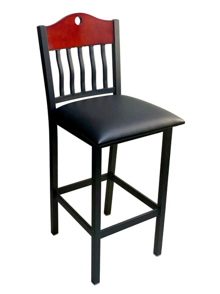#320BS/ Brown Wood with Vertical Slats Bar Stool