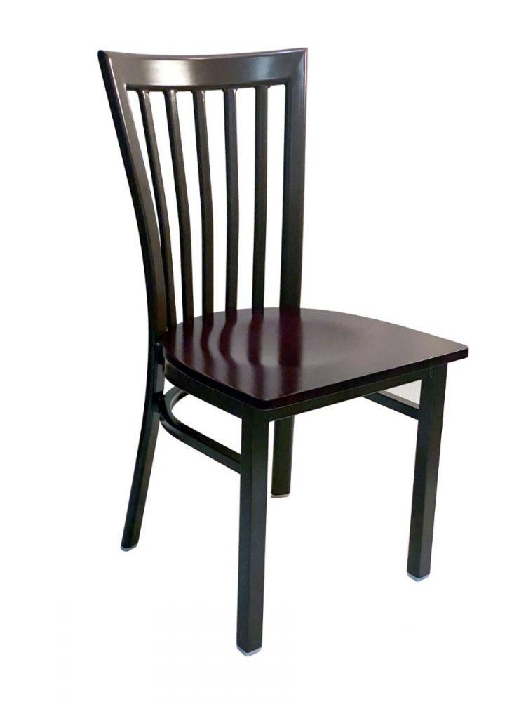 #327/ Vertical Slats Metal Chair Dark Brown with Brown Wood Seat