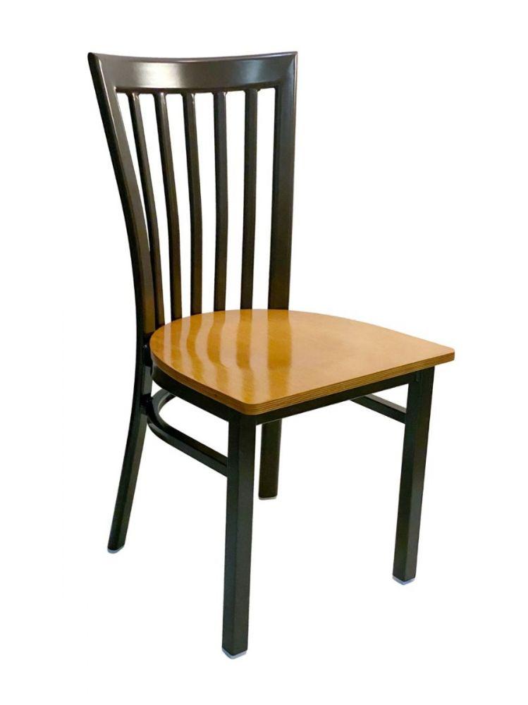 #327/ Vertical Slats Metal Chair Dark Brown with Natural Wood Seat