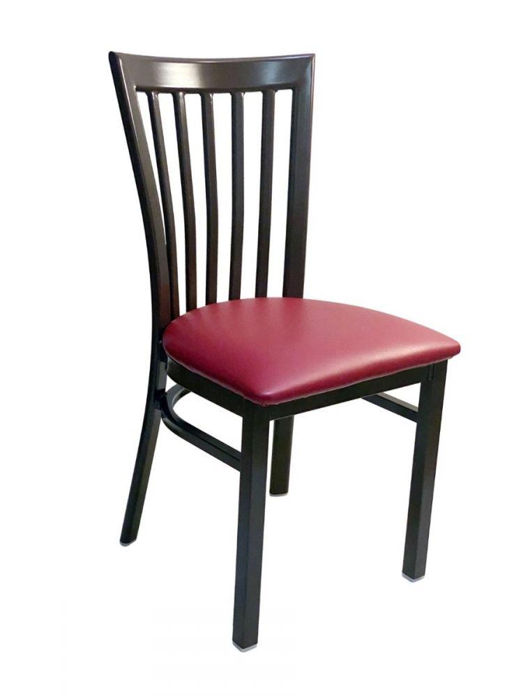 #327/ Vertical Slats Metal Chair Dark Brown/Claret Vinyl Seat