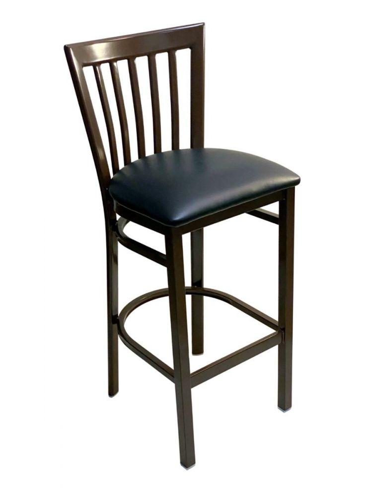 #327BS/ Vertical Slats Metal Bar Stool Dark Brown with Black Vinyl Seat