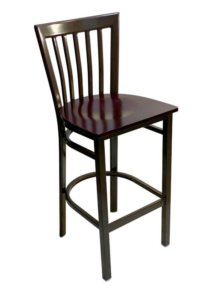 #327BS/ Vertical Slats Metal Bar Stool Dark Brown with Brown Wood Seat