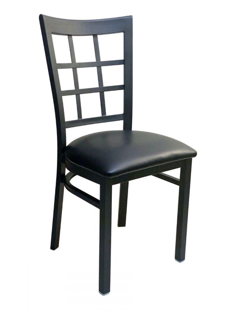 #328/ Window Back Metal Chair with Black Vinyl Seat