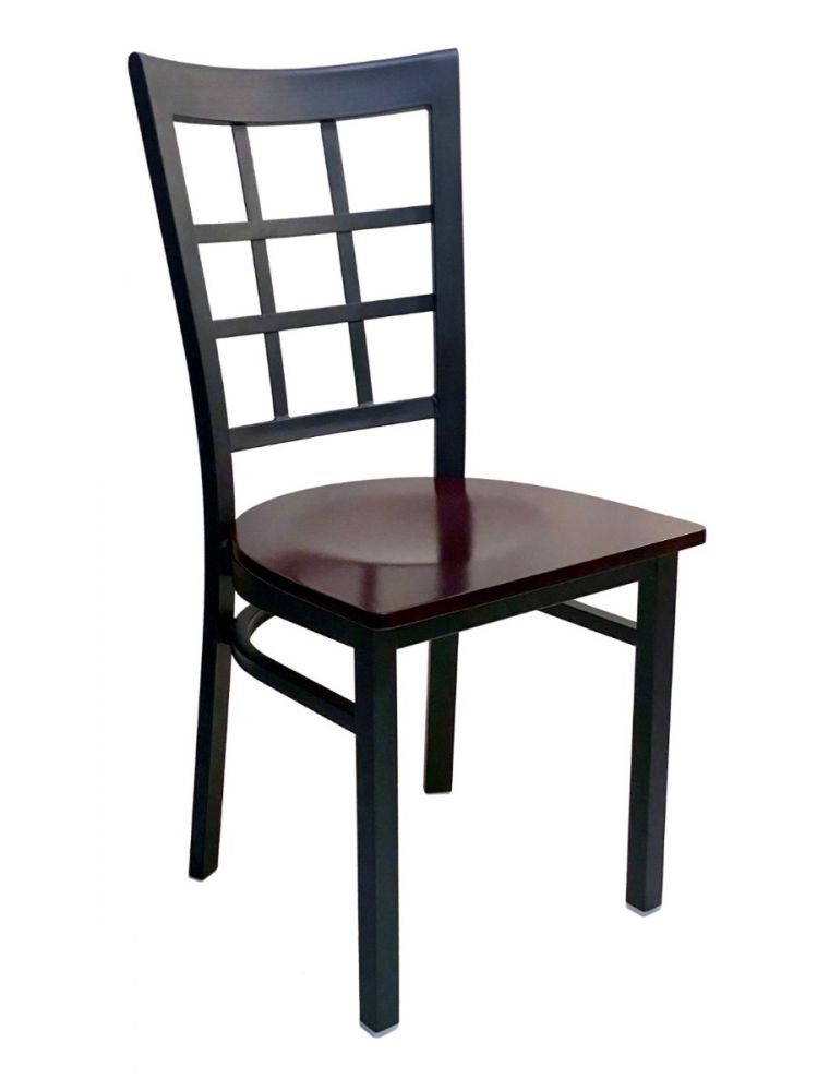 #328/ Window Back Metal Chair with Brown Wood Seat