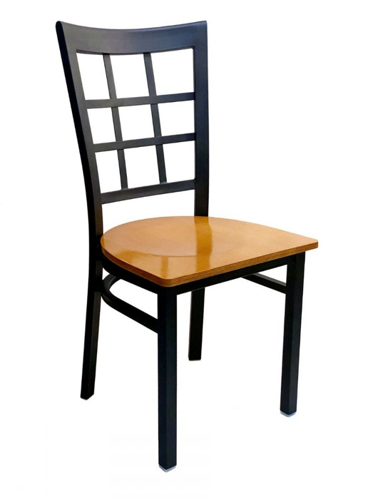 #328/ Window Back Metal Chair with Natural Wood Seat