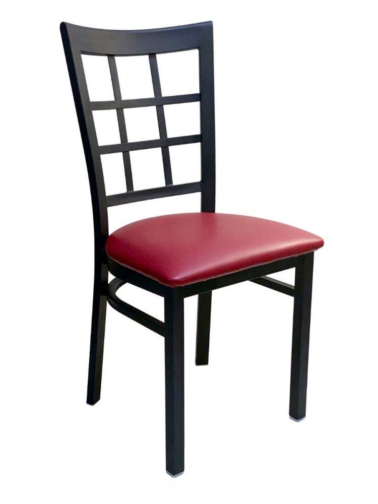 #328/ Window Back Metal Chair with Claret Vinyl Seat