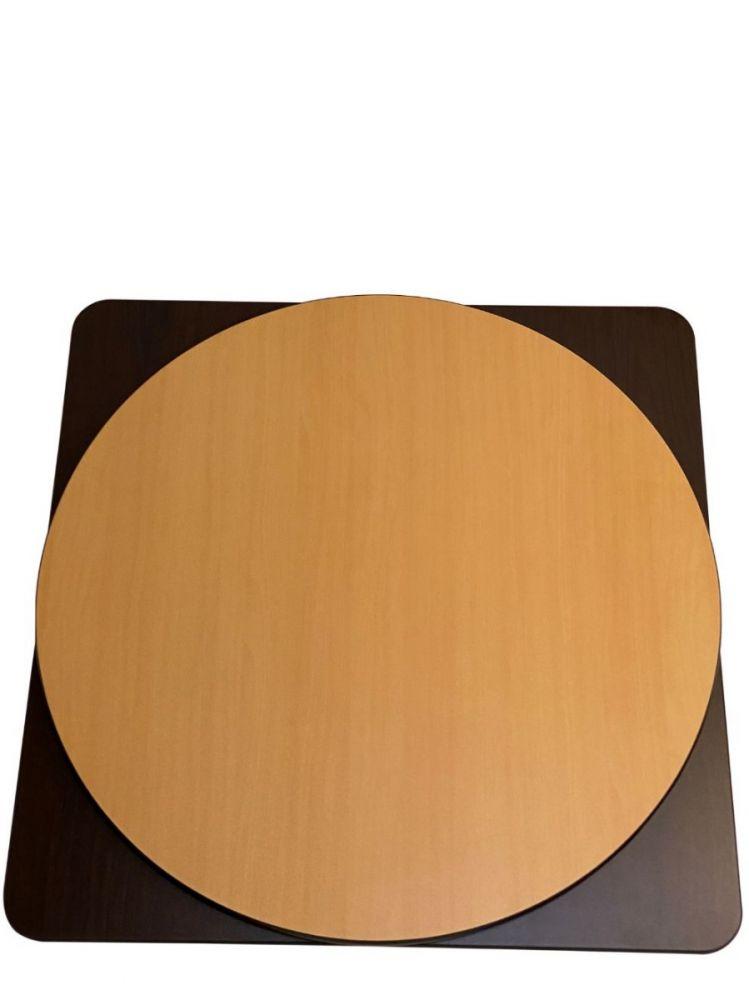 WOT24R/ Walnut/Oak Reversible T-Molding Top 24in Round