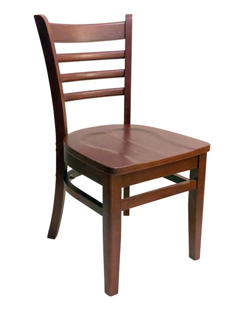 #411A/ Beech Ladder Chair Mahogany with Wood Seat