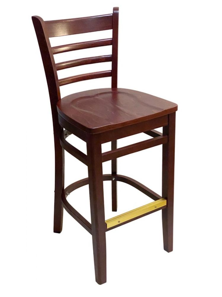 #411A-BS/ Beech Ladder Bar Stool Mahogany with Wood Seat