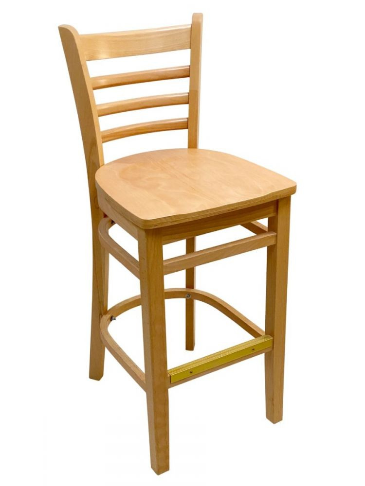 #411A-BS/ Beech Ladder Bar Stool Natural with Wood Seat