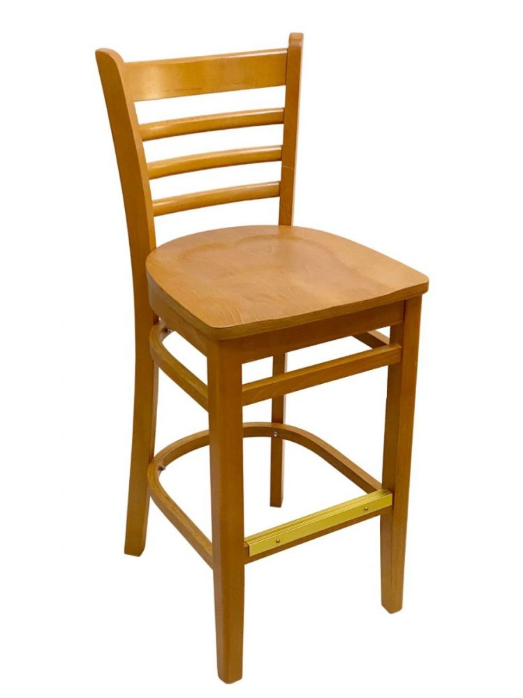 #411A-BS/ Beech Ladder Bar Stool Oak with Wood Seat