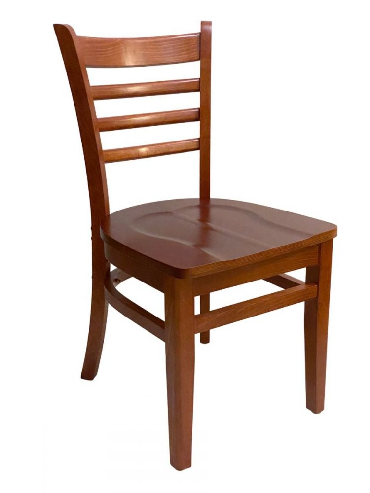 #411A/ Beech Ladder Chair Cherry with Wood Seat