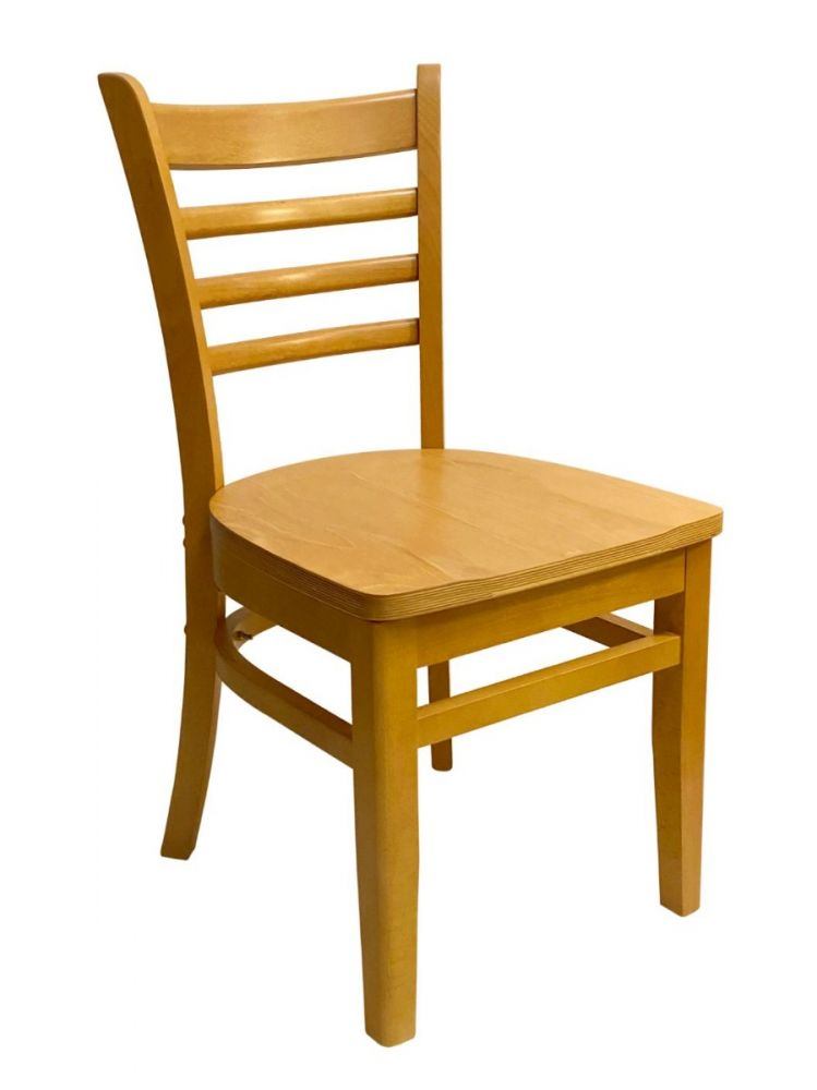 #411A/ Beech Ladder Chair Natural Oak with Wood Seat