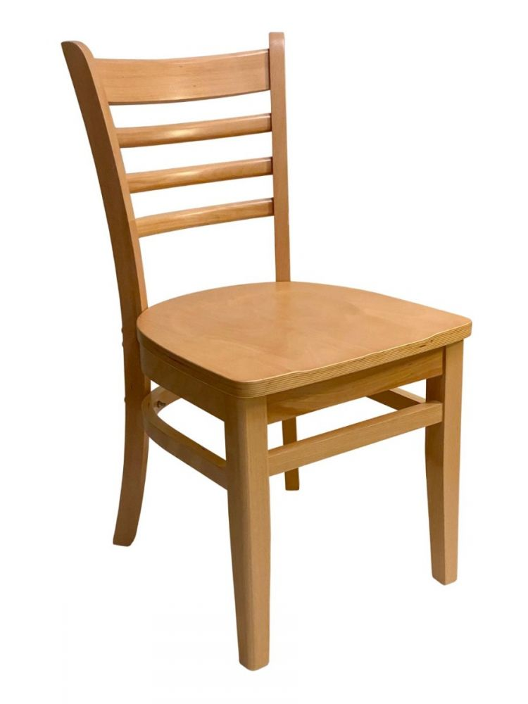 #411A/ Beech Ladder Chair Natural with Wood Seat