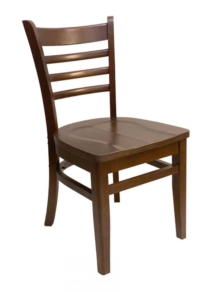 #411A/ Beech Ladder Chair Walnut with Wood Seat