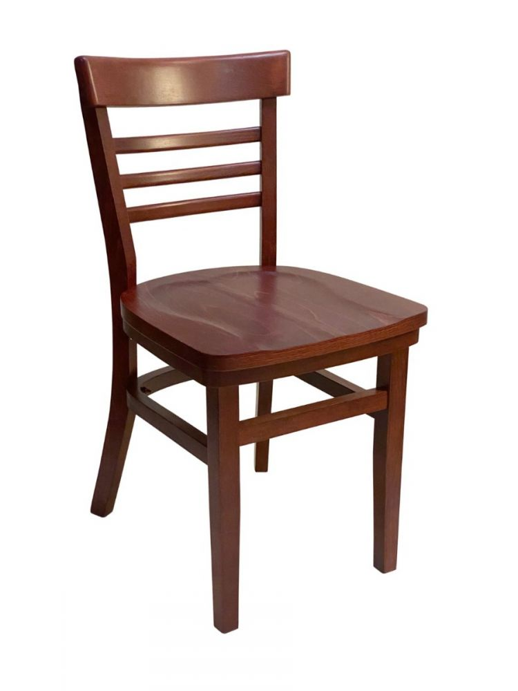 #412/ Steakhouse Chair Mahogany with Wood Seat