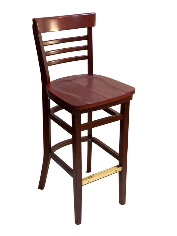 #412BS/ Steakhouse Bar Stool Mahogany with Wood Seat