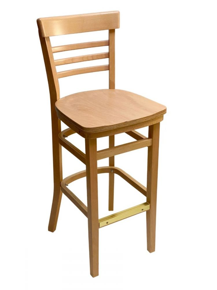 #412BS/ Steakhouse Bar Stool Natural with Wood Seat