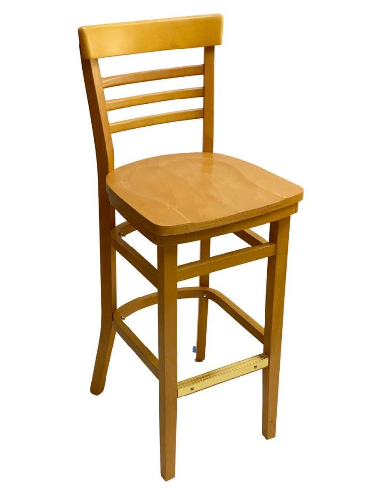 #412BS/ Steakhouse Bar Stool Oak With Wood Seat