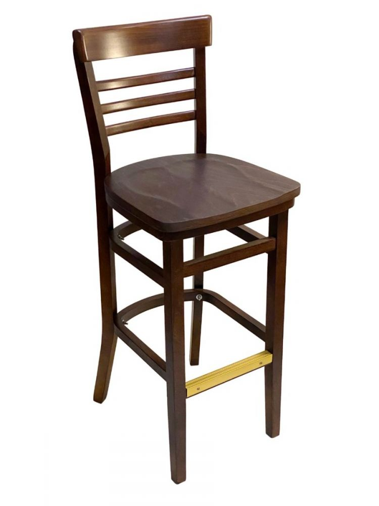 #412BS/ Steakhouse Bar Stool Walnut with Wood Seat