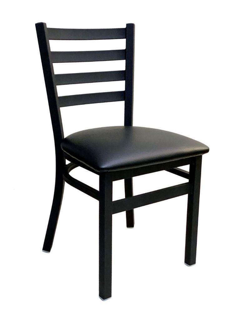 #316/ Metal Ladder Back Chair Black with Black Vinyl Seat