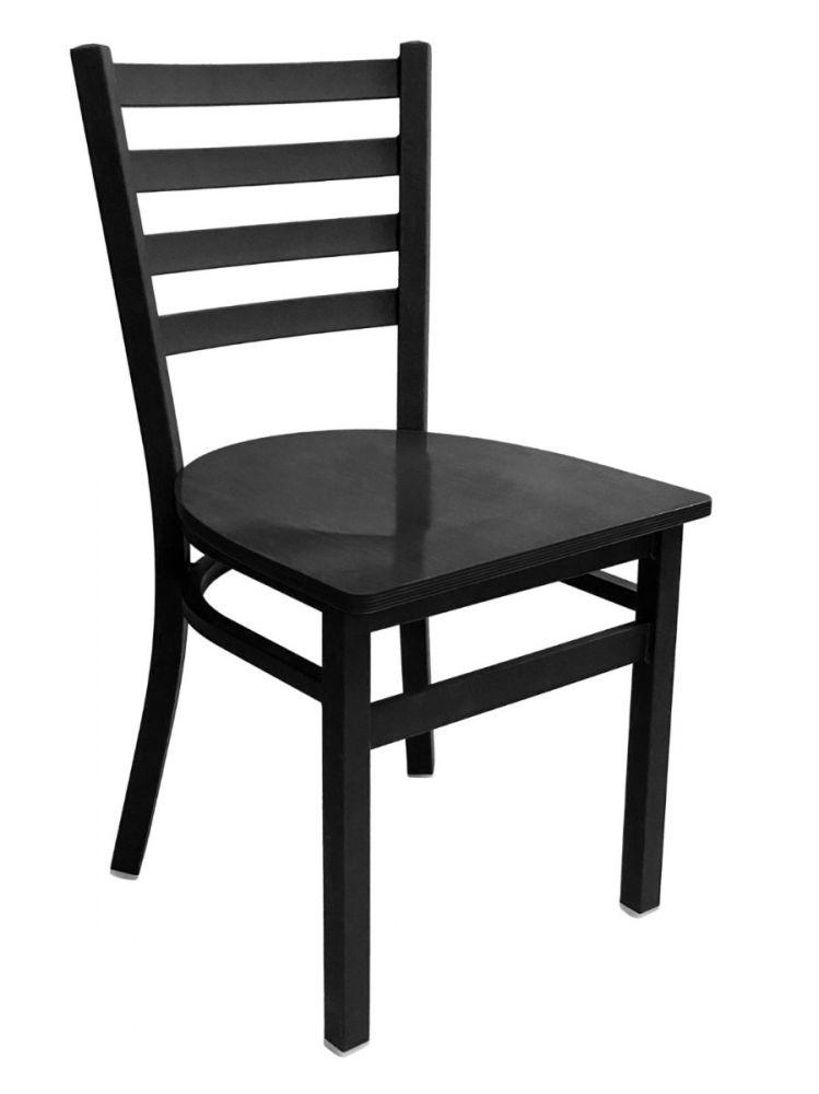 #316/ Metal Ladder Back Chair Black with Black Wood Seat