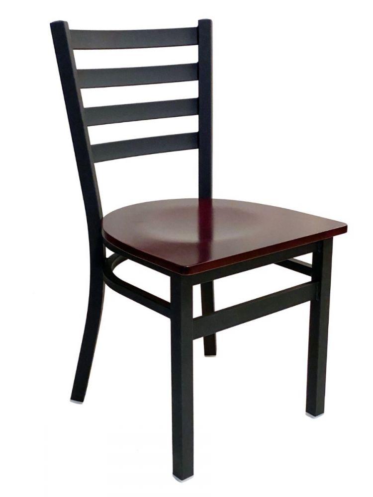 #316/ Metal Ladder Back Chair Black with Brown Wood Seat