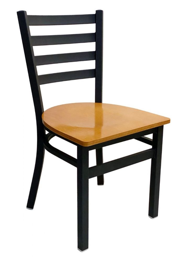 #316/ Metal Ladder Back Chair Black with Natural Wood Seat