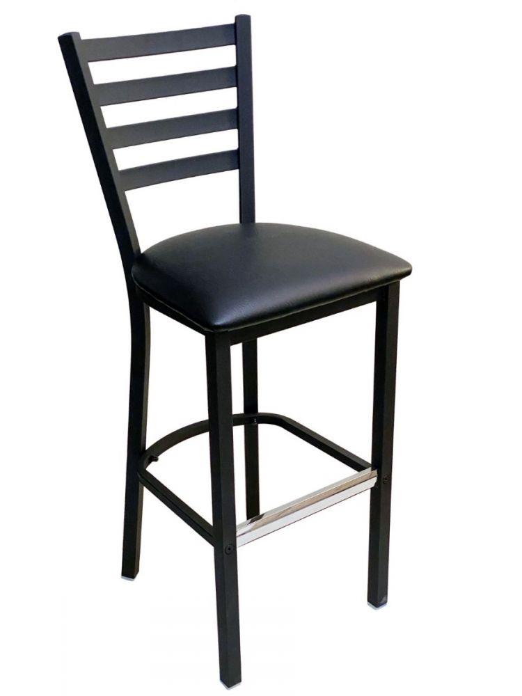 #316BS/ Metal Ladder Back Bar Stool Black with Black Vinyl Seat